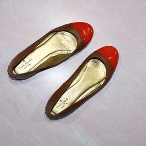 Kate Spade Tabitha Cap Toe Flats in Brown/Orange